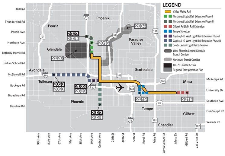 light rail map in Phoenix