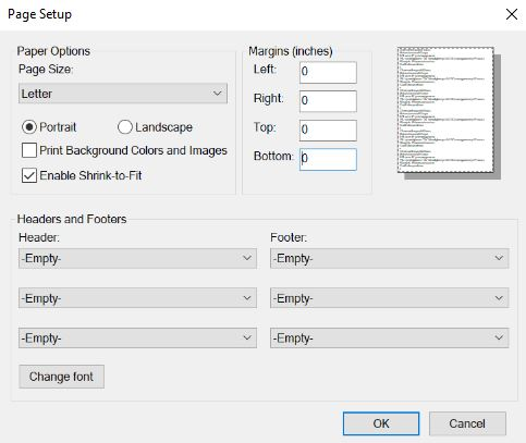 screenshot of printer settings page