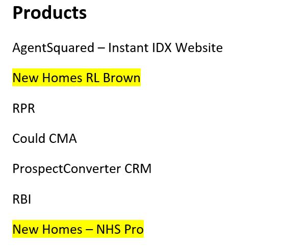 screenshot of products screen in Flexmls