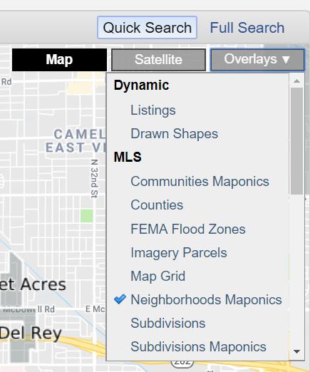 Flexmls map overlays menu