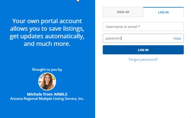 screenshot of Flexmls portal login