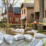 Raster photo of sandbags with flooded homes in background