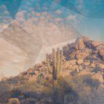 Arizona desert with geometric pattern overlay