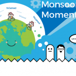"Cartoon of small houses sitting on a smiling globe with cartoon finger puppets saying ""Let us Explain"" below ""Monsoon Moment"" header."