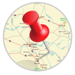 vector red pushpin in a map