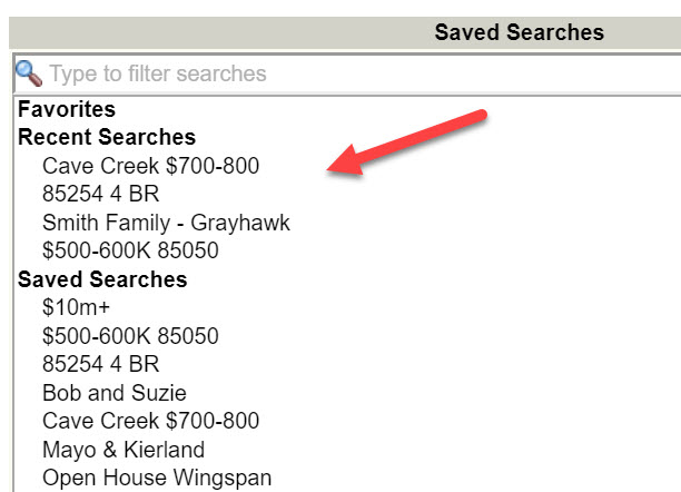 Screenshot ARMLS saved search
