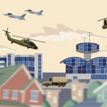 vector town with military base in the background