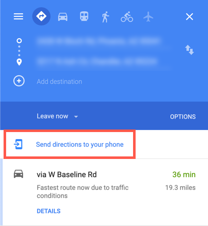 "Screenshot of Google Maps with ""Send Directions to Phone"" highlighted"