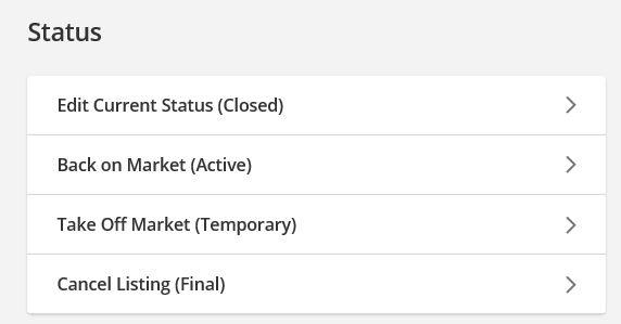 screenshot of status change screen