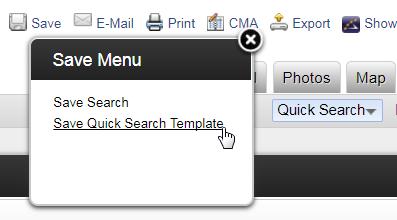 Screenshot of Save Search menu in Flexmls