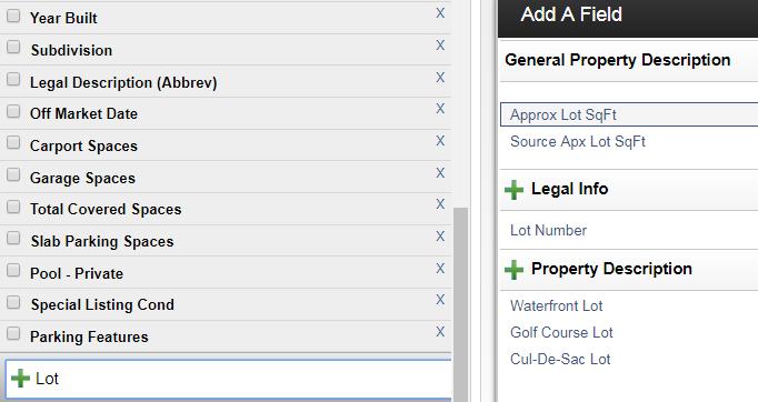 Screenshot of search fields in Flexmls
