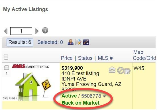 Screenshot of FLexmls My Listings screen