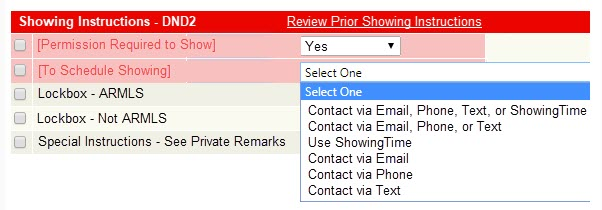 screenshot of new showing instruction field in flexmls
