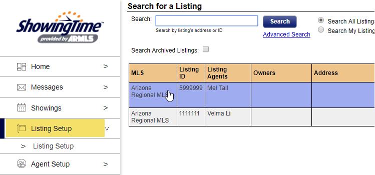 screenshot of showingtime listings tab