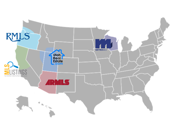 MLS Aligned Map of AZ, OR, CA, WI and UT