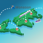 Group of islands with houses and Monsoon logo over top