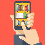 picture of books on phone