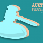 vector gavel over blue background