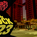 Picture of downtown phoenix with block 23 title
