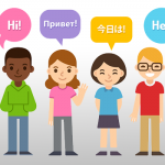 Vector people saying hello in different languages