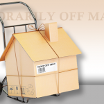 Vector cardboard house wrapped with string on a dolly with words temporarily off market above it