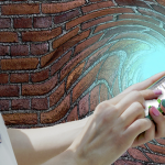 Swirled image of woman holding cell phone