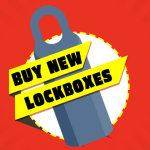 "Vector Lockbox with the text ""Buy New Lockboxes"" over red background"
