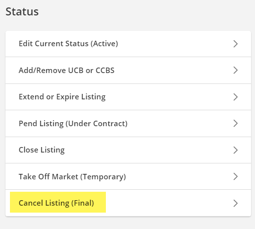 Screenshot of Flexmls status and price change screen
