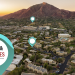 Pinpoints representing cities and zip codes over an image of Camelback Mountain district