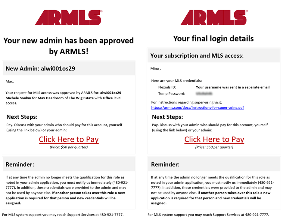 Screenshot of the emails sent to brokers after admin approval