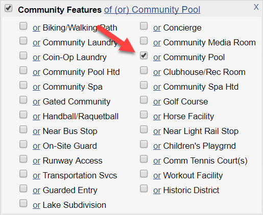 "Screenshot of ""Community Features"" field with ""Community Pool"" selected in a Quick Search."