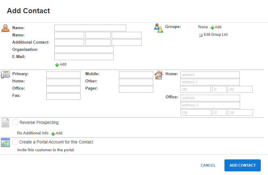 Add contact screen