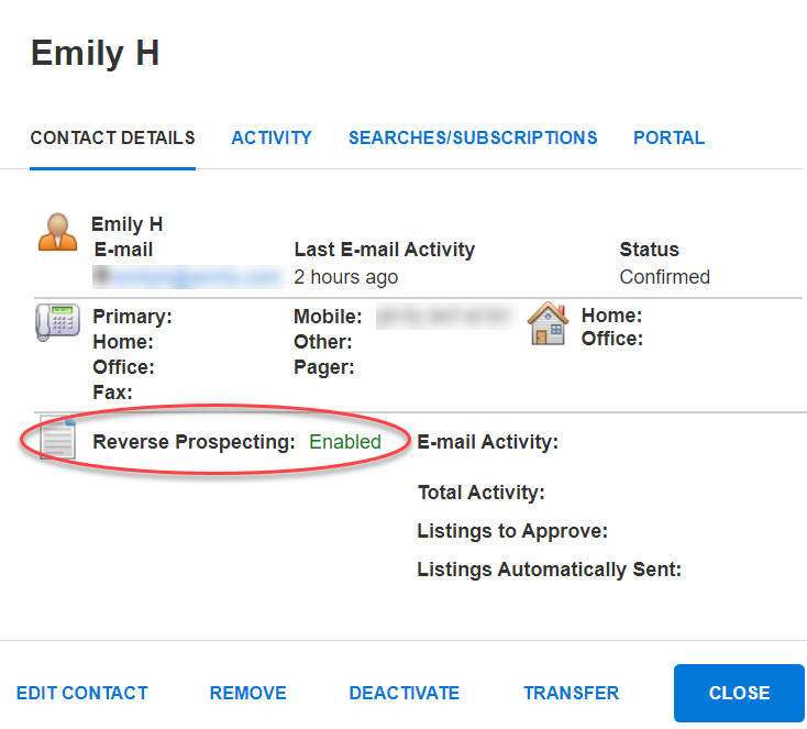 Screenshot of a client's Contact Details screen with Reverse Prospecting enabled.
