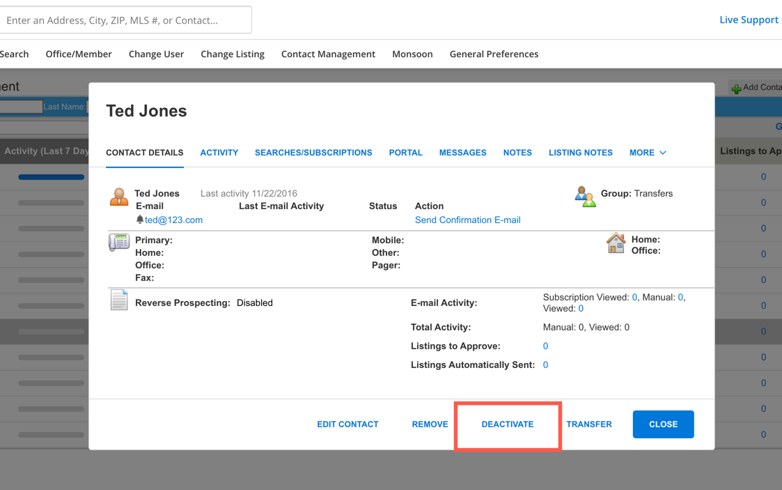 """Screenshot of Contact Management with a box around """"Deactivate"""""""