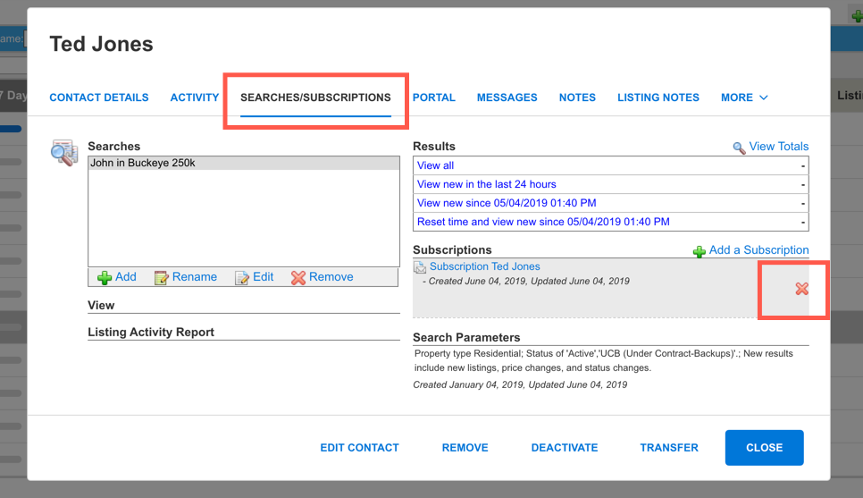 """Screenshot of the Searches/Subscriptions tab of Contact with a red box around """"Searches/Subscriptions"""" and a box around the red X"""