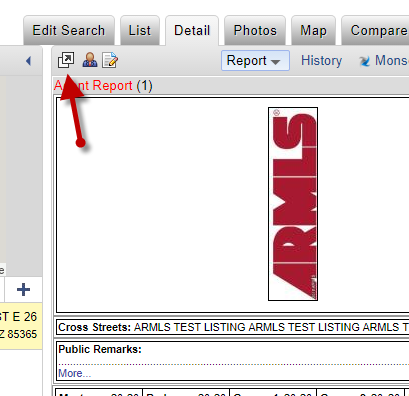 Flexmls screenshot of detail popout button
