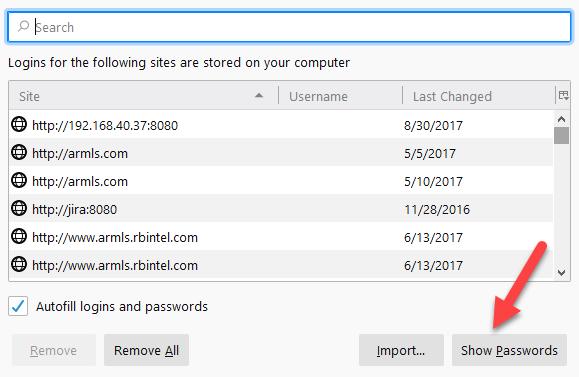 Firefox show passwords