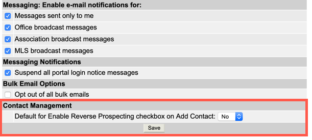 "Screenshot of General Pref ""Contact Management section"""