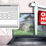 Image of a laptop screen with a picture of an Open House sign and the Flexmls screen for adding a new open house.
