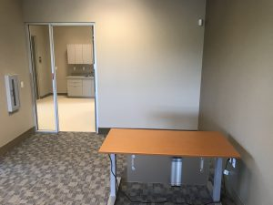 Support center desk and kitchen area