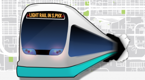 Lightrail Train busting through a map of Phoenix