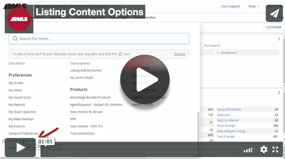 Video screenshot for Listing content options