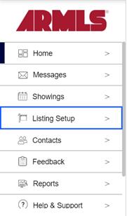 Screenshot of listing setup