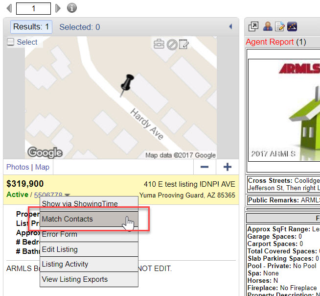"""Screenshot of a single MLS # pulled up in a Flexmls search. The down arrow to the right of the MLS# has been clicked, and """"Match Contacts"""" is being selected from the resulting dropdown."""