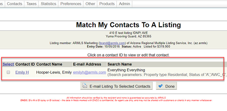 """Screenshot of """"Match My Contacts To A Listing"""" page with the matched contact highlighted by a red box."""
