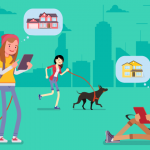 Image of several young adults spemdomg time with their dogs while looking at houses on digital tablets.