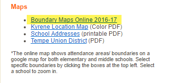 Screenshot of school website boundary map