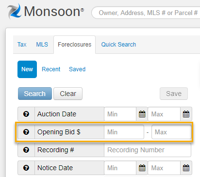 Opening bid field in Monsoon search