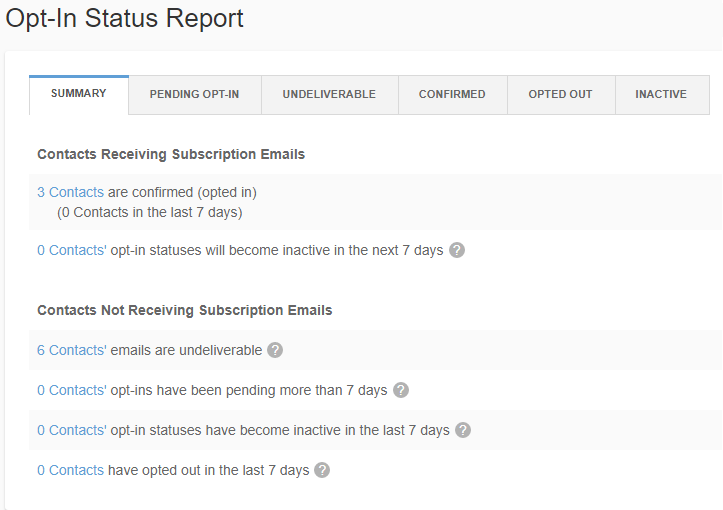 Summary page of the opt in status report