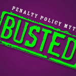"Vector stamp of ""Busted"" and ""Penalty Policy Myths""a"